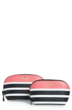 Kate Spade New York Hyde Lane Stripe Abalene Set Of 2 Faux Leather Pouches, Size One Size - Peach Sherbet