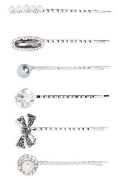 Cara 6-Pack Imitation Pearl & Crystal Bobby Pins, Size One Size - Metallic