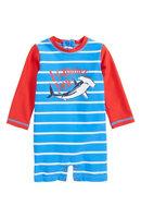 Infant Boy's Hatley One-Piece Rashguard Swimsuit, Size 3-6M - Blue