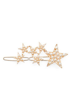 The Accessory Collective Accessory Collective Imitation Pearl Star Barrette, Size One Size - Metallic