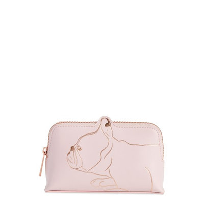 Ted Baker Elmida French Bulldog Makeup Bag, Pale Rink/Rose Gold