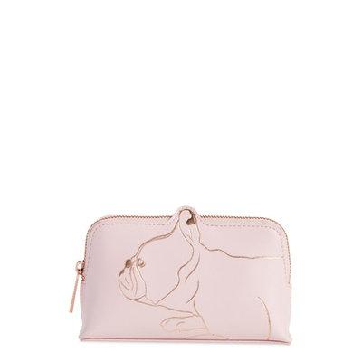 Ted Baker Elmida French Bulldog Makeup Bag, Pale Rink/Rose Gold