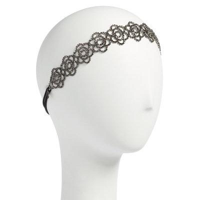 Tasha Botanical Crystal Head Wrap, Size One Size - Black