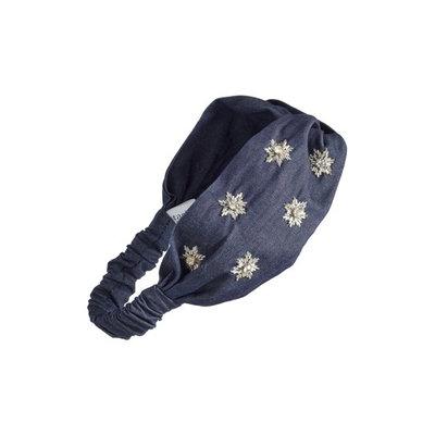 Tasha Starburst Denim Twisted Head Wrap, Size One Size - Blue