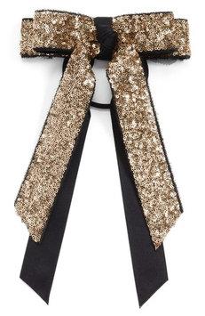 Cara Sequin Bow Ponytail Holder, Size One Size - Metallic