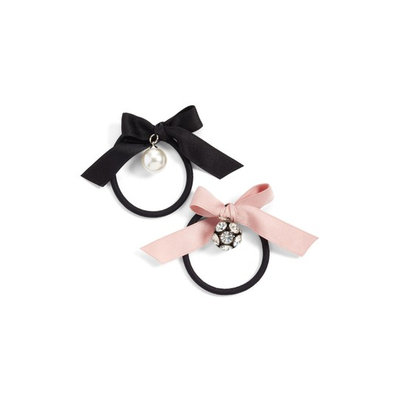 Cara 2-Pack Bow With Imitation Pearl & Crystal Charm Ponytail Holders, Size One Size - Black