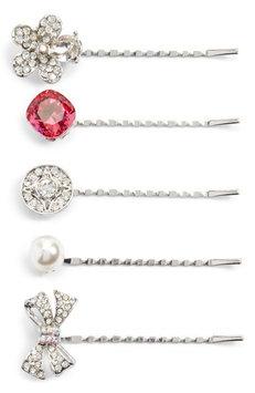 Cara Embellished 5-Pack Bobby Pins, Size One Size - Metallic