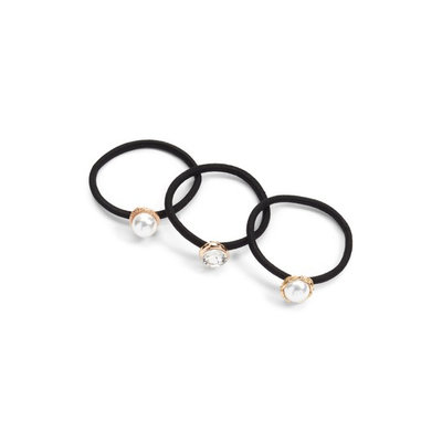 Cara Set Of 3 Crystal & Imitation Pearl Ponytail Holders, Size One Size - Metallic