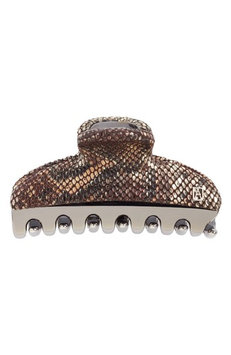 Alexandre De Paris Vendome Python Embossed Leather Hair Clip, Size One Size - Grey