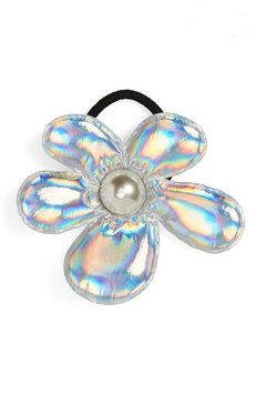 Cara Couture Iridescent Flower Ponytail Holder, Size One Size - Metallic