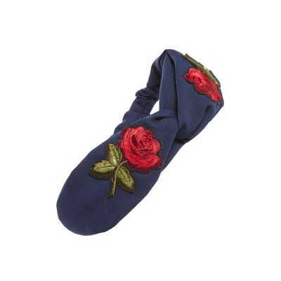 Cara Embroidered Rose Patch Twist Head Wrap, Size One Size - Blue