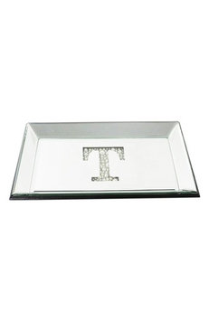 American Atelier Imitation Pearl Monogram Mirrored Trinket Tray, Size One Size - Metallic