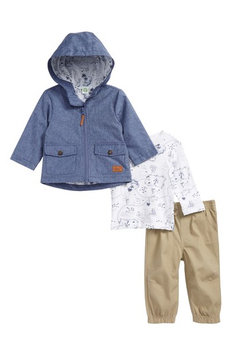 Little Me 3-Pc. Hooded Chambray Jacket, Map-Print T-Shirt & Pants Set, Baby Boys (0-24 months)