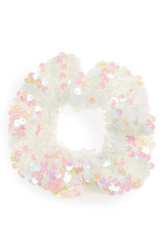 Topshop Sequin Scrunchie, Size One Size - White
