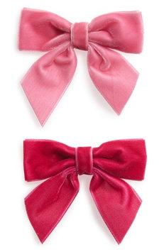 Milledeux 2-Piece Velvet Bow Hair Clip Set, Size One Size - Pink