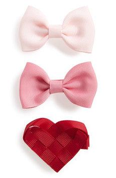 Milledeux 3-Piece Heart & Bows Hair Clip Set, Size One Size - Pink