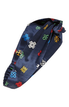 Tory Burch Alphabet Print Silk Headband, Size One Size - Blue