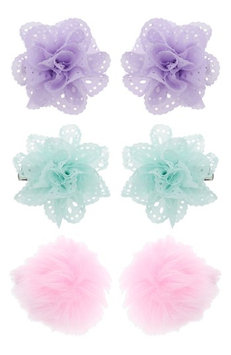 Capelli New York 6-Pack Flower & Pompom Hair Clips, Size One Size - Pink