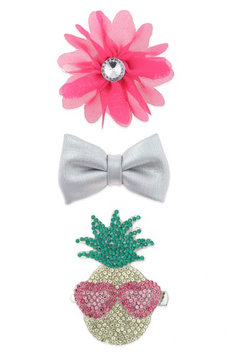 Capelli New York 3-Piece Hair Clip Set, Size One Size - Pink