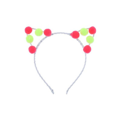 Capelli New York Pompom Cat Ear Headband, Size One Size - Yellow
