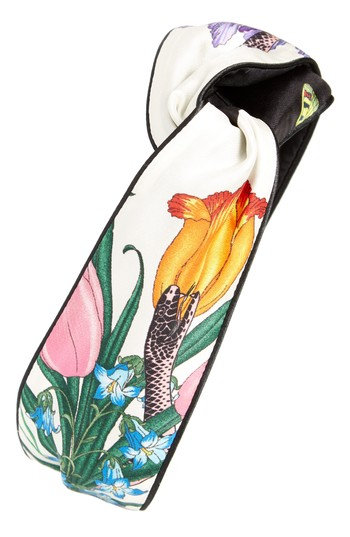 Gucci Flora Snake Silk Head Wrap, Size One Size - Ivory