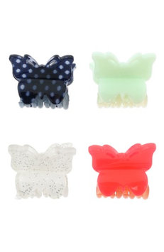 Capelli New York Set Of 4 Butterfly Clip Set, Size One Size - Red