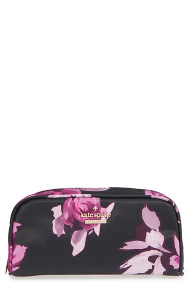 Kate Spade New York 'Classic Berrie' Floral Cosmetics Case, Size One Size - Black Multi