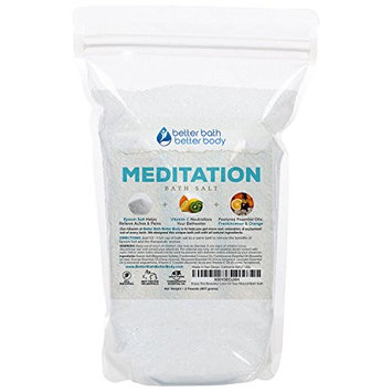 Meditation Bath Salt 32oz (2-Lbs) - Epsom Salt Bath Soak With Frankincense & Orange Essential Oil Plus Vitamin C - Calm & Peaceful Meditative Aromatherapy - All Natural Bath Salts
