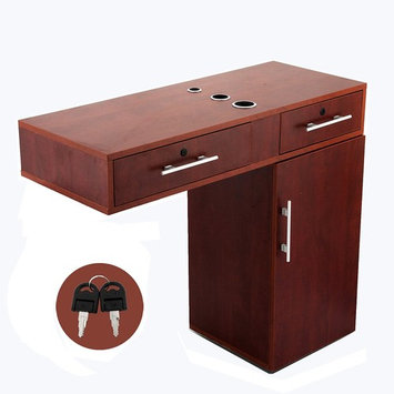 Happybuy Beauty Salon Station Barber Station Red Styling Station with Top Cabint and Bottom Cabint with Tabletop Appliance Holder