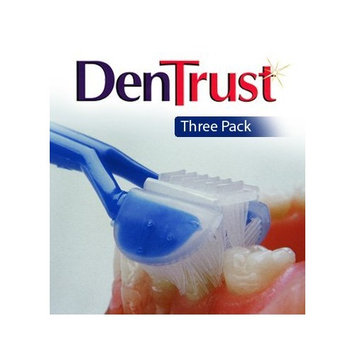 3 PACK :: DenTrust 3-Sided Toothbrush :: Medium :: Wrap-Around Design with Automatic 45 Degree Angle :: Made in USA