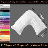 Polycotton Back & Neck Support V Shaped Orthopedic Nursing Pillow Case