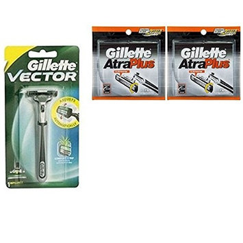 Vector Plus Razor Handle + Atra Plus Refill Razor Blades 10 ct. (Pack of 2) + FREE Schick Slim Twin ST for Dry Skin