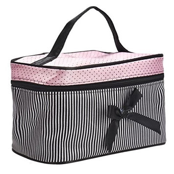 TRENDINAO Black Hanging Toiletry Bag for Women Square Bow Stripe Large Cosmetic Bag Travel Makeup Organizer Case Holder