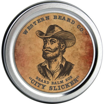 Beard Balm with Shea Butter, Beeswax & Argan Oil - All Natural Leave-In Wax Conditioner for Men - Styles, Strengthens & Thickens During Beard Growth - City Slicker Scent (2oz)