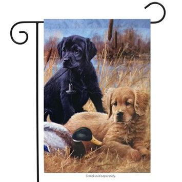 Hummingbird Haven Faithful Friends Puppies Garden Flag Duck Labrador Yellow Black Dog 12.5'x18'