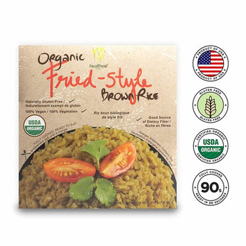 Healthee Organic Brown Rice, Gluten Free, Fully Cooked and Ready-to-Eat, USDA Certified Organic, GMO-Free, Microwaveable (Fried Style, Pack of 4)