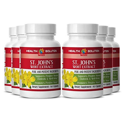 ST JOHN'S WART HERB EXTRACT With Siberian Eleutherococcus and Gingkgo Biloba - For Depression and fatigue - 6 Bottles 360 Capsules