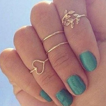 Meily♥TM Fashion Gold Plated Leaf Heart Joint Knuckle Nail Ring Set of Four Rings