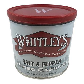 Whitley's Salt & Pepper Jumbo Cashews 12 Oz Tin