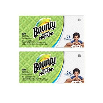Bounty Paper Napkins, White or Printed, 200 Count, Pack of 2 [White or Printed]
