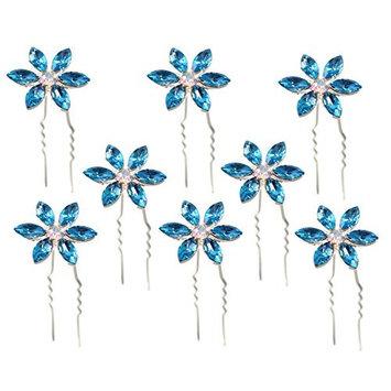 Blue Crystal Hair Pins Flower Bridal Wedding Hair Accessory Rhinestone Center (Set of 8)