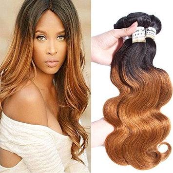 Baiermei Hair Ombre Brazilian Virgin Hair Extensions Body Wave Two Tone Brown T1B 30# 8A Grade Human Hair Weave 3 Bundles (18
