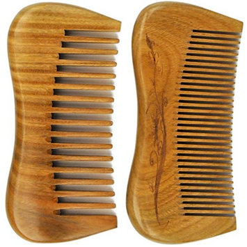 LiveZone Handmade Natural Green Sandalwood 2-Count(Minute Tooth and Wide Tooth Wood Comb) Wooden Hair Comb No Static Comb Pocket Comb with Natural Wood Aromatic Scent 4.7-inch, Wood Color