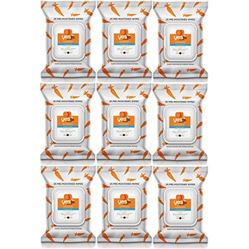 Yes To Carrots Fragrance-Free Gentle Cleansing Wipes, 25 Count (Pack of 9) + FREE Scunci Black Roller Pins, 18 Pcs