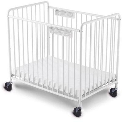 Foundations Compact Little Dreamer EasyRoll Slatted Fixed-Side Non-Folding Crib, White