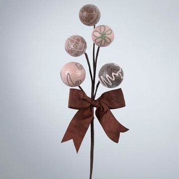 Chocolate Shop Decorated Confection Candy Balls w/ Brown Bow Christmas Pick 12