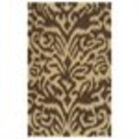 3.25' x 5.25' Animal Scroll Khaki and Brown Hand Woven Wool Area Throw Rug