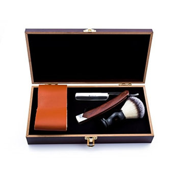 SMITH CHU Professional Vintage Classic Straight Shaving Razor Kit - Men Folding Knife/Cut Throat,Japanese Stainless Steel and Wooden Handle - Bristle Hair Brush,Leather Strop - with Wooden Gift Box