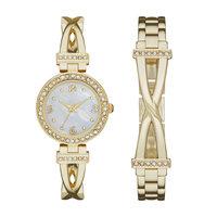 Ladies Gold Bracelet Watch Set