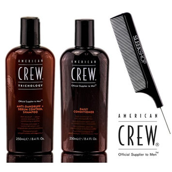 American Crew ANTI-DANDRUFF + Sebum Control Shampoo & Daily Conditioner DUO Set (with Sleek Steel Pin Tail Comb)